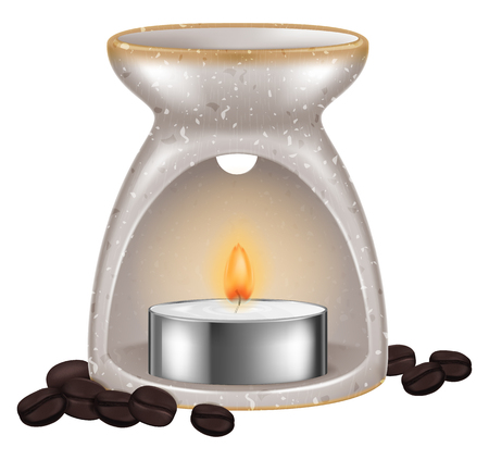 Aroma lamp with coffee beans. Vector illustration. Illustration
