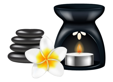 Aroma lamp with spa stones and frangipani flower. Vector illustration.