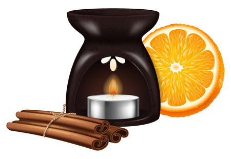 Aroma lamp with cinnamon stiks and orange. Vector illustration. 일러스트