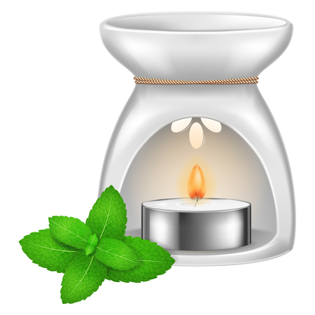 Aroma lamp with mint leaves. Vector illustration. Stock Vector - 104081393