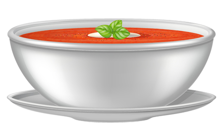 Tomato soup in a white bowl. Vector illustration.