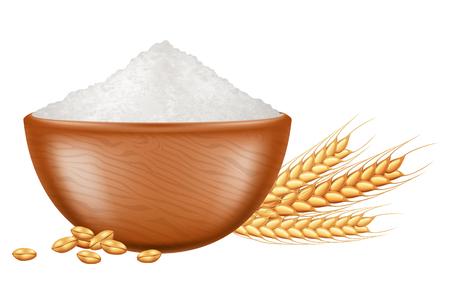 Wooden bowl with flour and wheat grain. Vector illustration. Illustration