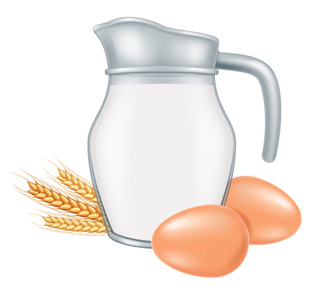 Jar of milk with wheat and two eggs. Vector illustration. Illustration