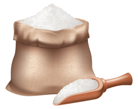 Sack of flour and a wooden spoon. Vector illustration. Illustration