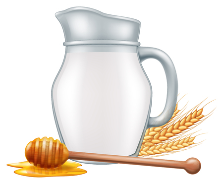 Pitcher of milk with wooden honey dipper and wheat grain. Vector illustration.