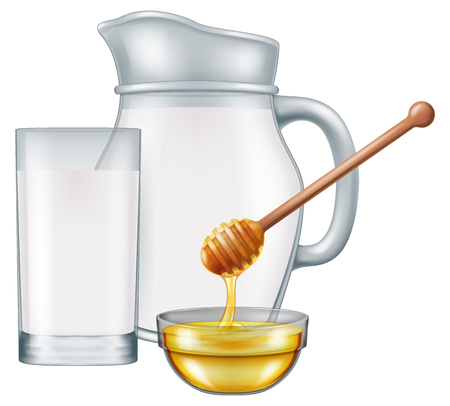 Pitcher and glass of milk with glass bowl of honey. Vector illustration.