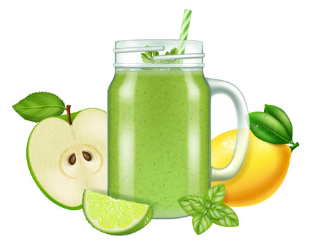 Raw fresh green smoothie in a mason jar mug. Vector illustration.