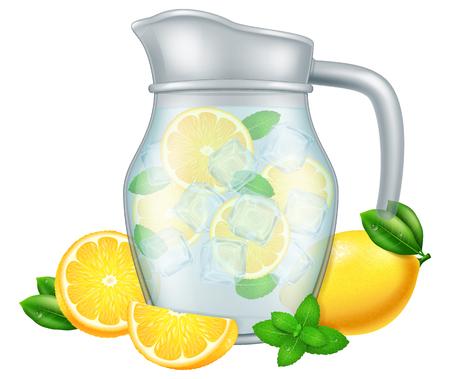 Glass jug of lemonade with lemon and mint. Vector illustration. Illustration