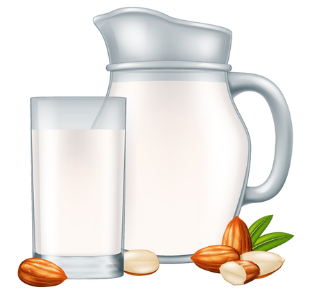 Pitcher and glass of almond milk. Vector illustration.