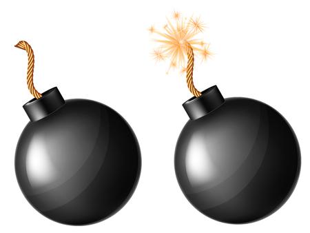 Black bomb. Vector illustration. Illustration