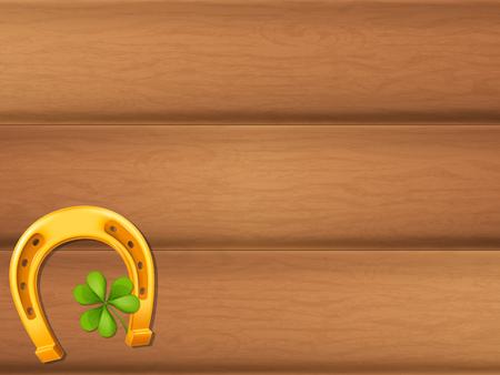 Wooden table background with golden horseshoe and shamrock. Vector illustration. Illustration