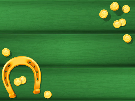 Wooden table background with golden horseshoe and coins. Vector illustration.
