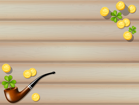 Wooden table background with golden coins, tobacco pipe and shamrocks. Vector illustration. Illustration