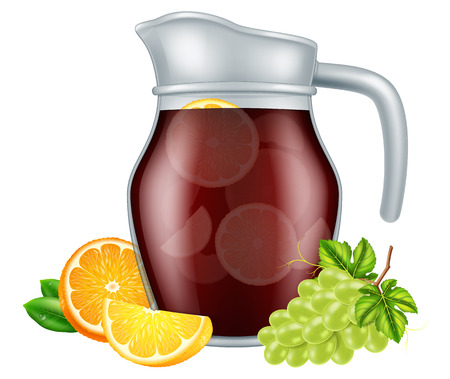 Jar of red sangria with fruits. Vector illustration.