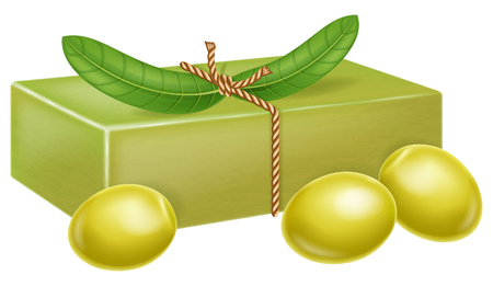 Natural handmade olive soap with olive leaves and fruits. Vector illustration.