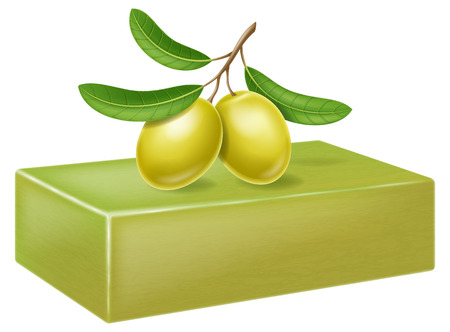 Natural handmade olive soap with olive branch and fruits. Vector illustration.