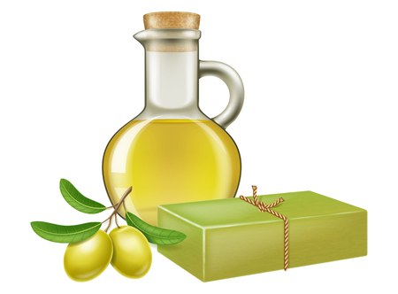 Natural handmade olive soap with olive branch and a glass jar of oil. Vector illustration.