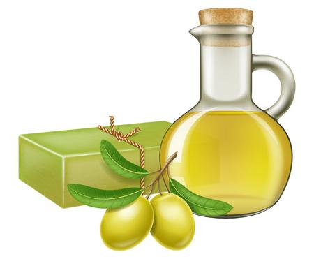 Savon d'olive artisanal naturel avec branche d'olivier et pot en verre d'huile. Illustration vectorielle.