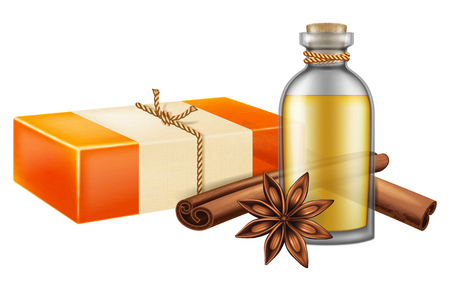 Natural handmade soap with anise star, cinnamon sticks and a glass flask of oil. Vector illustration.