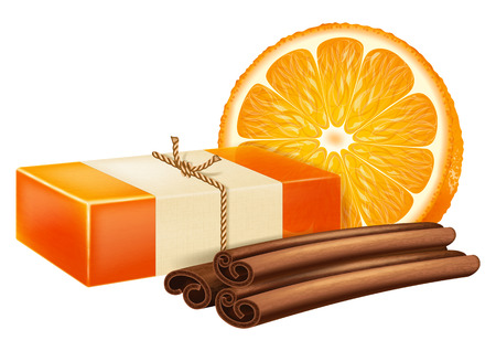 Natural handmade soap with orange and cinnamon sticks. Vector illustration.