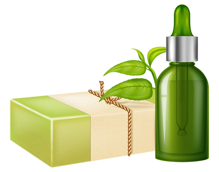 Natural handmade soap with tea leaves and a glass flask of oil. Vector illustration.