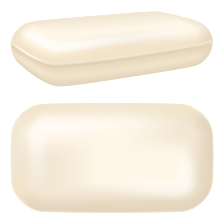 White soap bar. Top and three quarter view. Vector illustration. Illustration