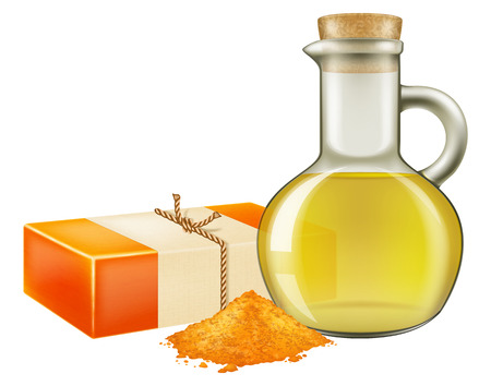 Natural handmade soap with turmeric powder and a glass jar of oil. Vector illustration.