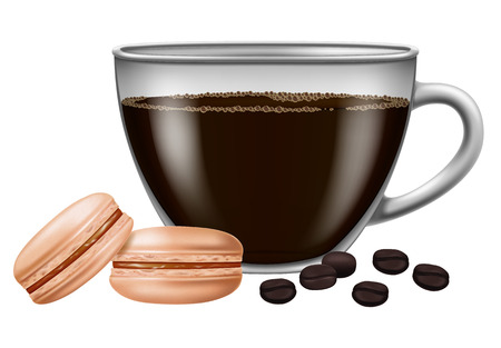 Cup of coffee with roasted coffee beans and macarons. Illustration