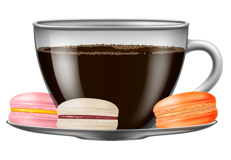 Cup of coffee with macarons.