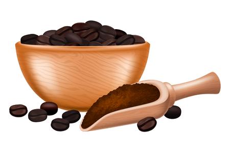 Ciotola in legno piena di caffè macinato.