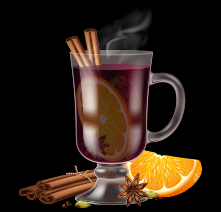 Glass of mulled wine with assorted spices and orange.