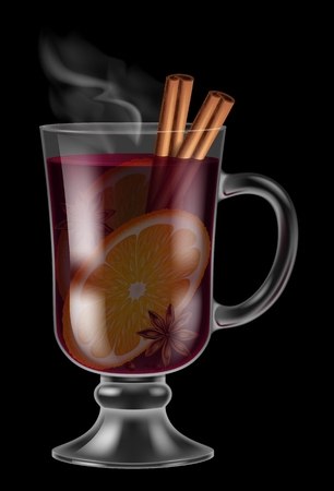 Glass of mulled wine on black background. Illustration