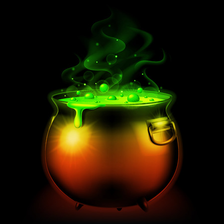 Halloween witch cauldron with bubbling green goo.