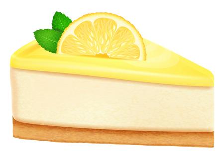Cheesecake met citroen en muntblaadjes.