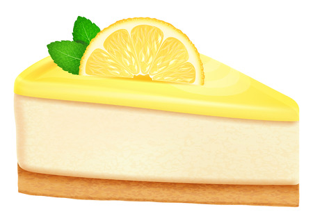 Cheesecake with lemon and mint leaves. Illustration
