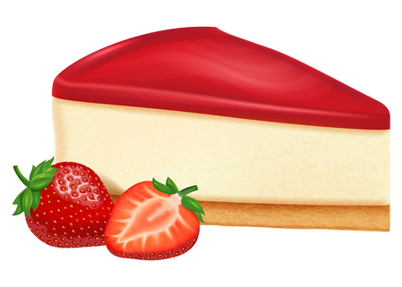 Cheesecake with strawberry jam and strawberries. Illustration