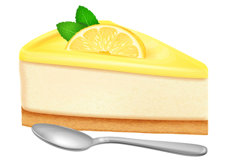 Cheesecake with lemon and mint leaves. Vector illustration.
