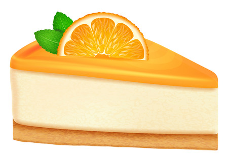 Cheesecake with orange and mint leaves. Vector illustration.