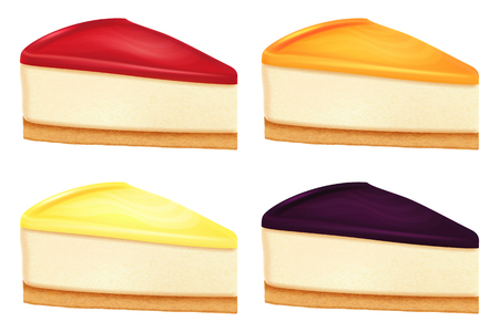 Cheesecake set. Vector illustration.