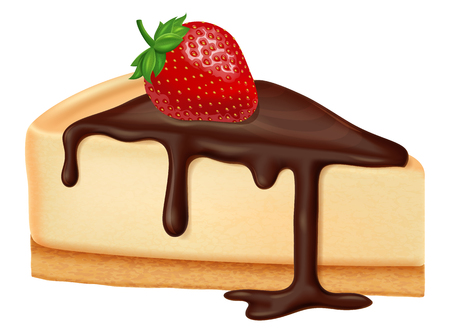 Cheesecake with chocolate and strawberry berries. Vector illustration.