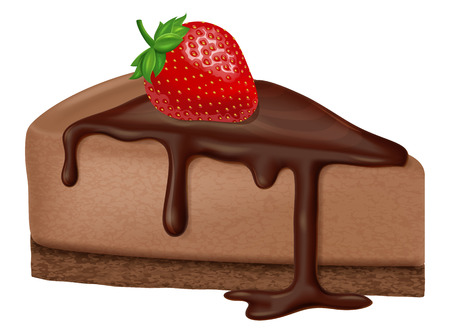 Chocolate cheesecake with strawberry. Vector illustration.
