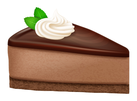 Chocolate cheesecake. Vector illustration.