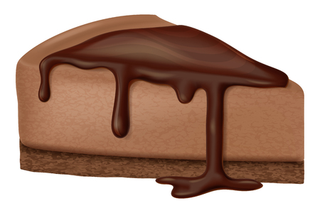 Chocolate cheesecake. Vector illustration.