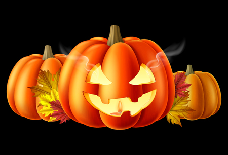 Halloween pumpkins with a carved out scary smiling face. Vector illustration.