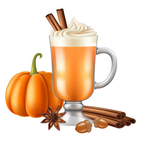 Pumpkin spice latte. Vector illustration.