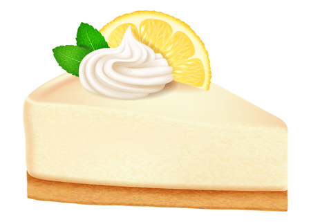 Cheesecake with lemon and mint leaves. Vector illustration. 向量圖像