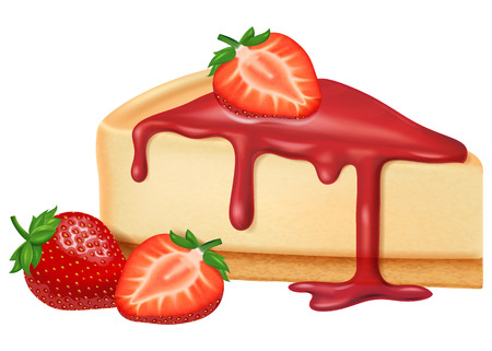 Cheesecake with strawberry jam and strawberries. Vector illustration.