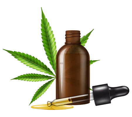 Medical cannabis (marijuana) oil in a glass bottle with marijuana leaf and dropper. Vector illustration. Illustration