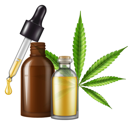 Medical cannabis (marijuana) oil in a glass bottle with marijuana leaf and dropper. Vector illustration. Иллюстрация
