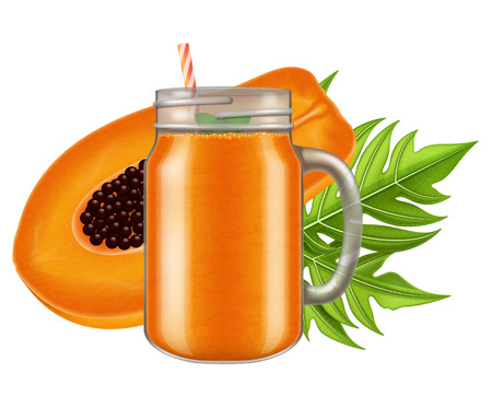 Ripe papaya juice  smoothie in a mason jar mug. Vector illustration.